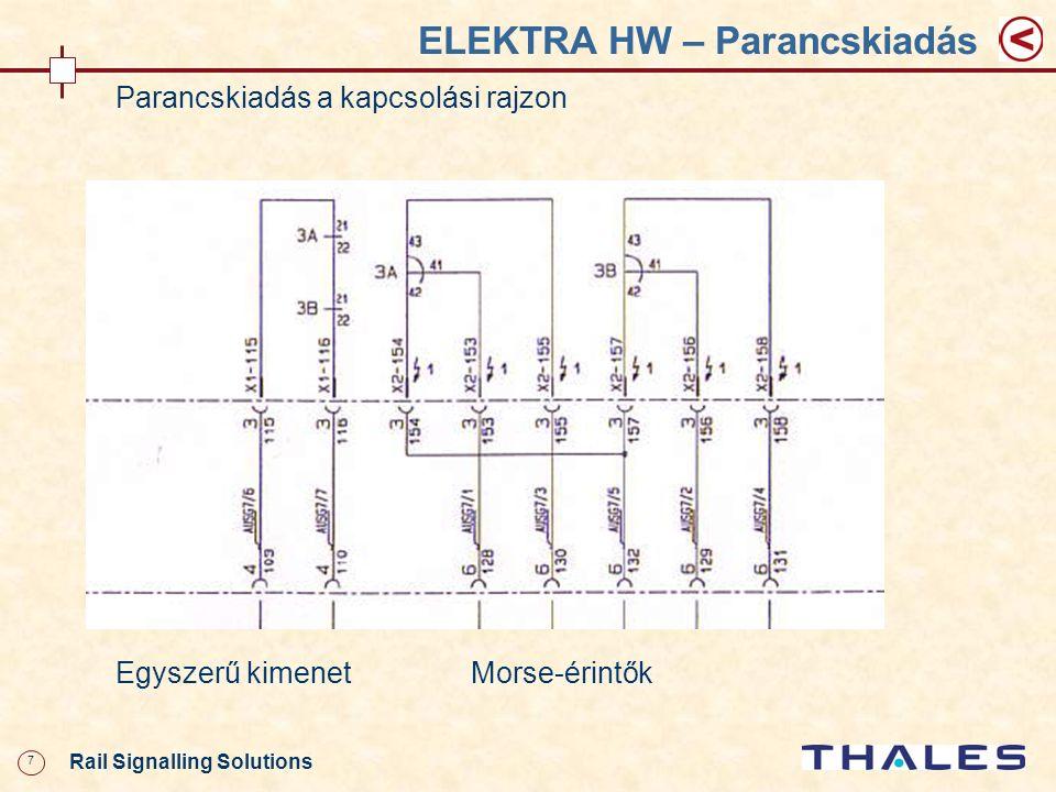 18 Rail Signalling Solutions ELEKTRA HW – Váltóáramkör Váltóáramkör Jelfogók: WL- váltóvezér jelfogó WAM- felvágásjelölő WUR- váltóellenőrző jobb végállás WUL- váltóellenőrző bal végállás U- feszültségváltó ST1- állítóáramkapcsoló balra vezérléshez ST2- állítóáramkapcsoló jobbra vezérléshez ST1- állítóáramkapcsoló TR- leválasztó jelfogó UM- váltóállítás idején húzó jelfogó