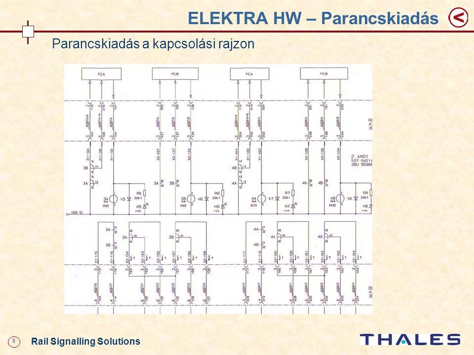 49 Rail Signalling Solutions Thales Rail Signalling Solutions Austria Oktatási anyag részei Prezentációk Kézikönyvek ELEKTRA karbantartás EBO2 Tengelyszámláló Áramellátás Követelményspecifikációk Vonatvágányút Tolatóvágányút Vágányúti elemek Szerelési utasítás IF-szekrények dokumentációja Kapcsolási rajzok ELEKTRA egységei SFA, ÜTA Kiegészítő áramkörök Áramellátás Kiviteli tervek Diagnosztika Leírások