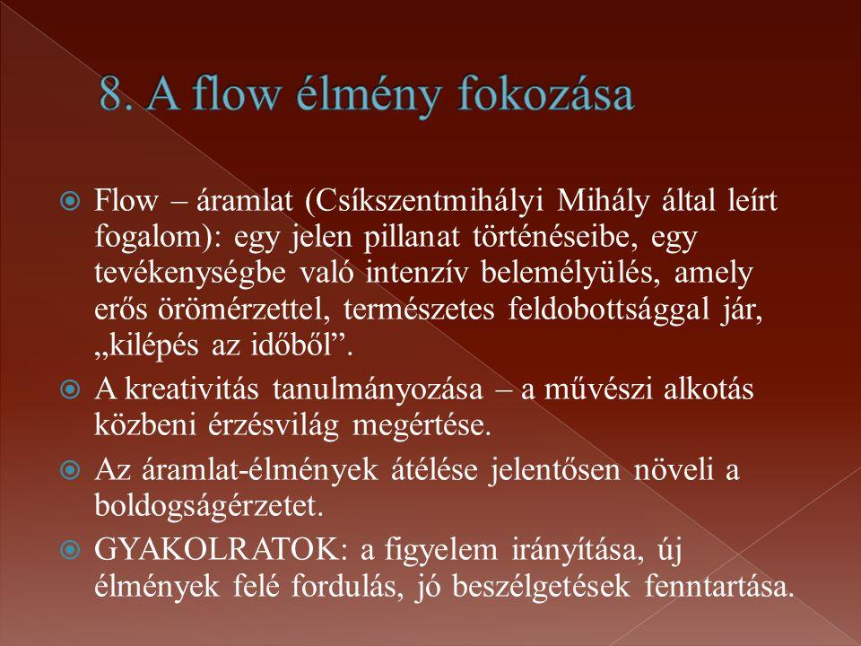 """ Flow – áramlat (Csíkszentmihályi Mihály által leírt fogalom): egy jelen pillanat történéseibe, egy tevékenységbe való intenzív belemélyülés, amely erős örömérzettel, természetes feldobottsággal jár, """"kilépés az időből ."""