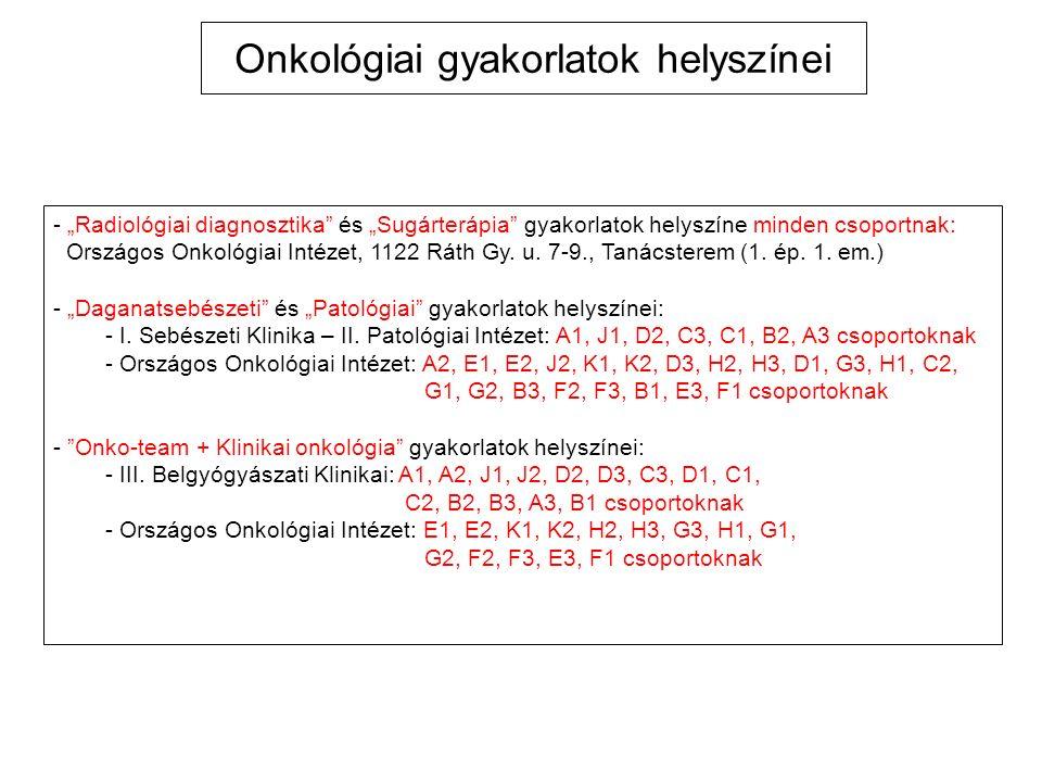 """""""Onkológia magyar nyelvű tantermi előadások tematikája Helyszín: I."""