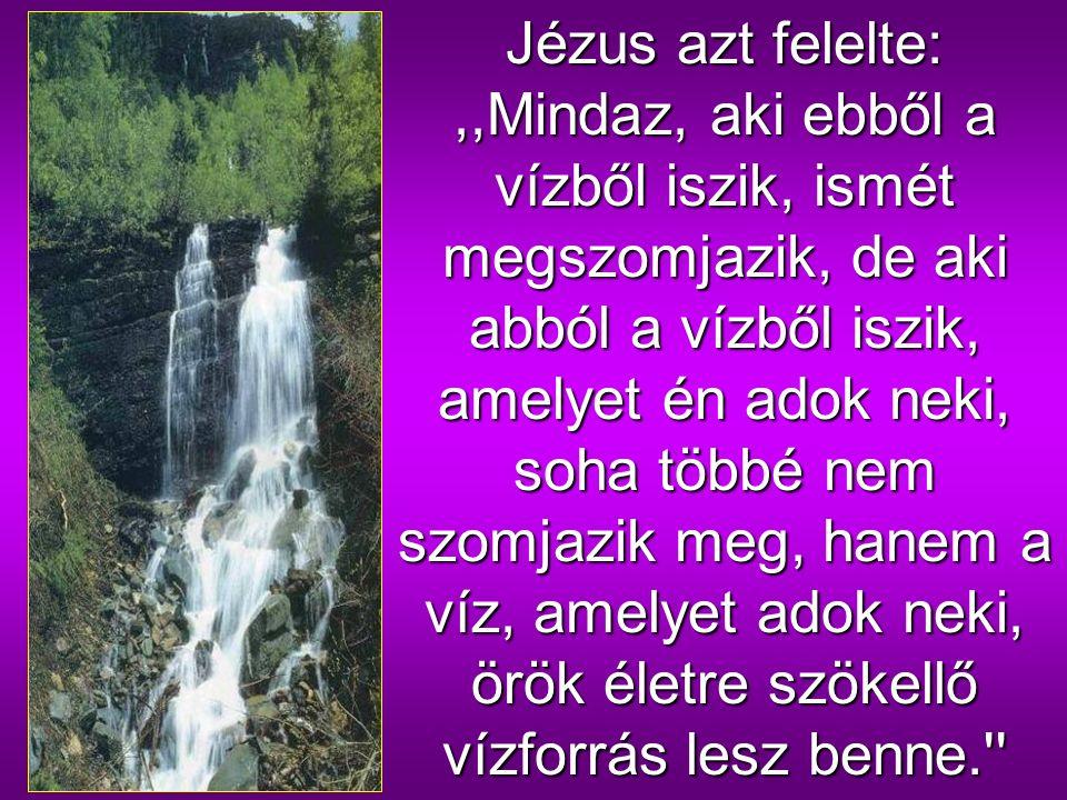 Az asszony megjegyezte:,,Uram, nincs is mivel merítened, a kút pedig mély; honnan vennéd hát az élő vizet.