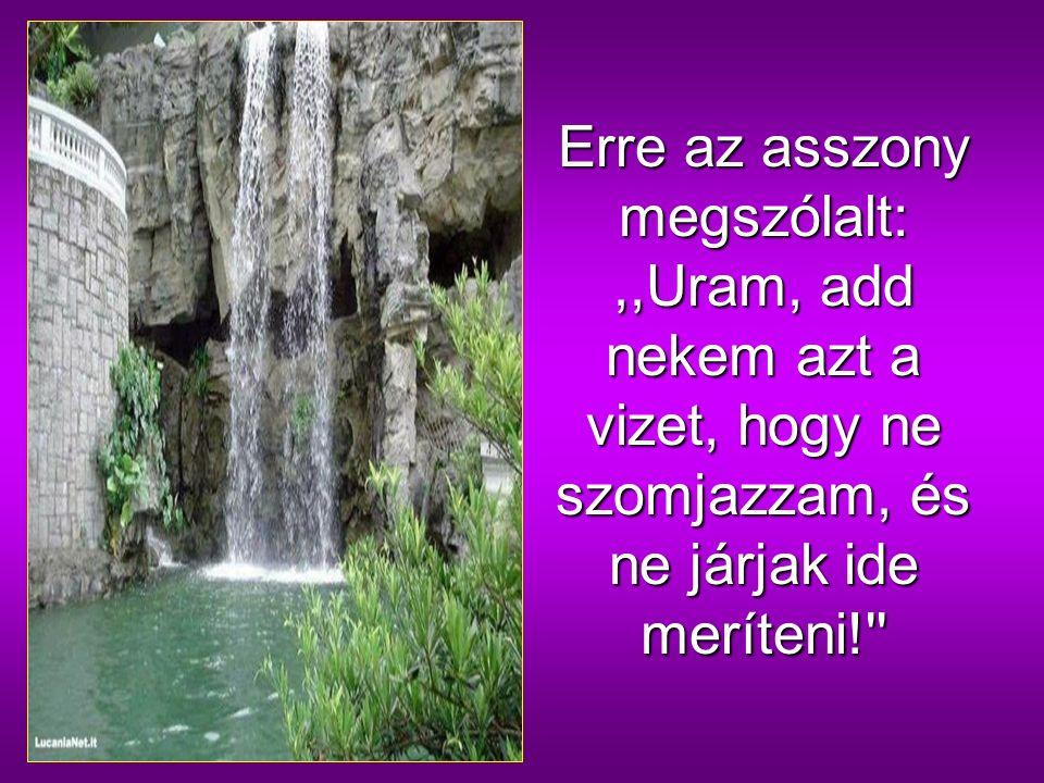 Jézus azt felelte:,,Mindaz, aki ebből a vízből iszik, ismét megszomjazik, de aki abból a vízből iszik, amelyet én adok neki, soha többé nem szomjazik meg, hanem a víz, amelyet adok neki, örök életre szökellő vízforrás lesz benne.