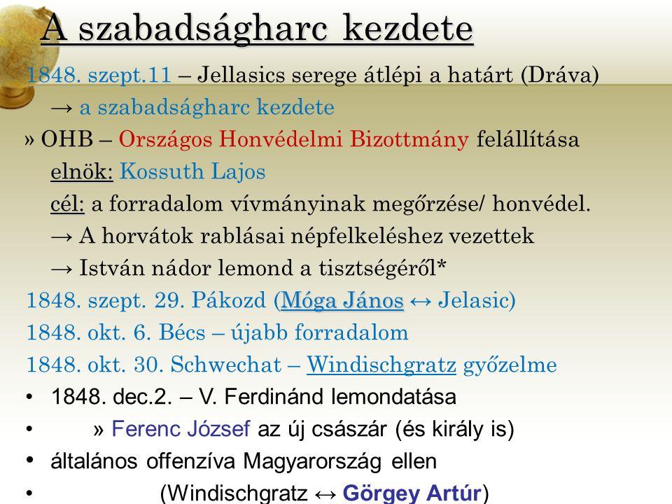 A szabadságharc kezdete 1848. szept.11 – Jellasics serege átlépi a határt (Dráva) → a szabadságharc kezdete » OHB – Országos Honvédelmi Bizottmány fel