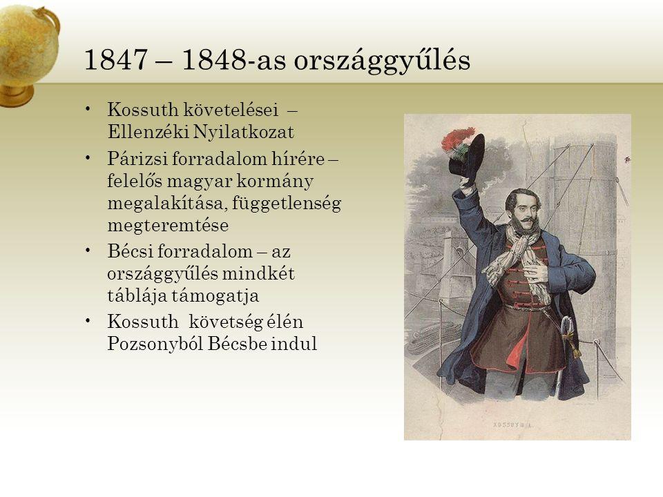 1847 – 1848-as országgyűlés Kossuth követelései – Ellenzéki Nyilatkozat Párizsi forradalom hírére – felelős magyar kormány megalakítása, függetlenség
