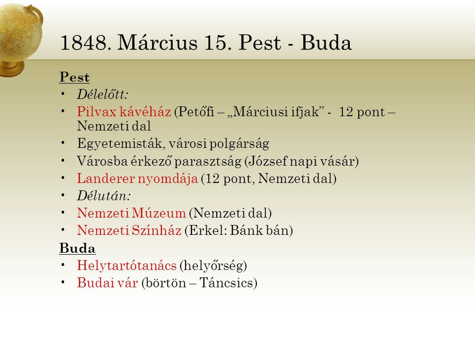 """1848. Március 15. Pest - Buda Pest Délelőtt: Pilvax kávéház (Petőfi – """"Márciusi ifjak"""" - 12 pont – Nemzeti dal Egyetemisták, városi polgárság Városba"""