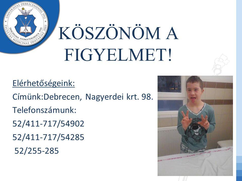 KÖSZÖNÖM A FIGYELMET! Elérhetőségeink: Címünk:Debrecen, Nagyerdei krt. 98. Telefonszámunk: 52/411-717/54902 52/411-717/54285 52/255-285