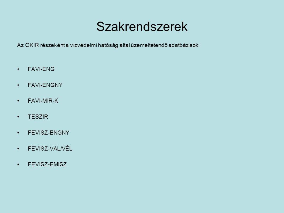 Szakrendszerek Az OKIR részeként a vízvédelmi hatóság által üzemeltetendő adatbázisok: FAVI-ENG FAVI-ENGNY FAVI-MIR-K TESZIR FEVISZ-ENGNY FEVISZ-VAL/VÉL FEVISZ-EMISZ