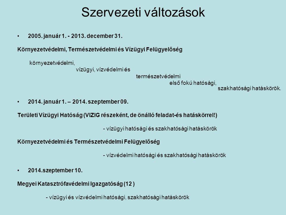 Szervezeti változások 2005.január 1. - 2013. december 31.
