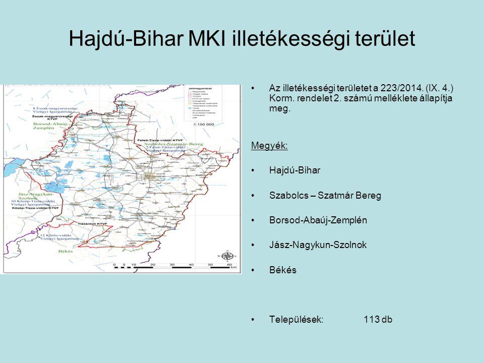 Hajdú-Bihar MKI illetékességi terület Az illetékességi területet a 223/2014. (IX. 4.) Korm. rendelet 2. számú melléklete állapítja meg. Megyék: Hajdú-