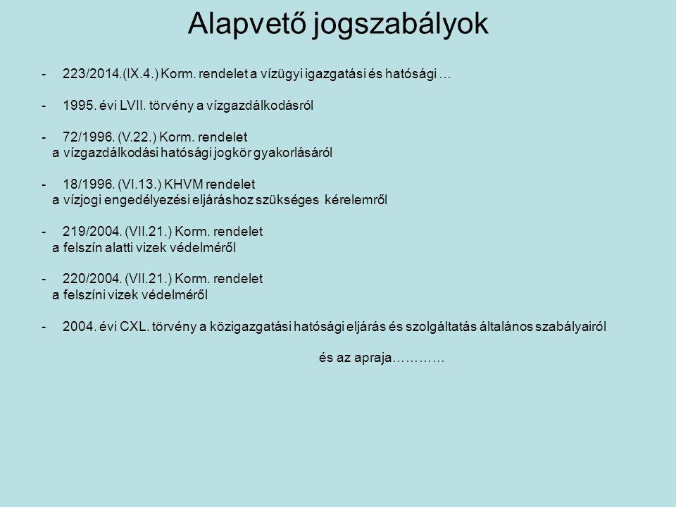 Alapvető jogszabályok -223/2014.(IX.4.) Korm. rendelet a vízügyi igazgatási és hatósági … -1995. évi LVII. törvény a vízgazdálkodásról -72/1996. (V.22