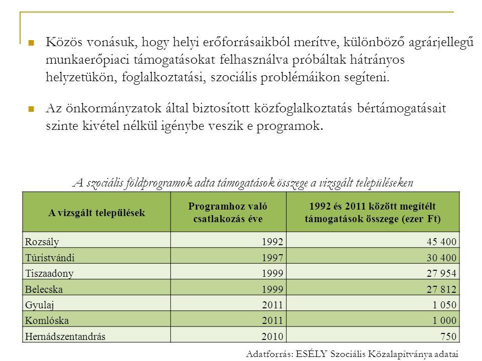 Közös vonásuk, hogy helyi erőforrásaikból merítve, különböző agrárjellegű munkaerőpiaci támogatásokat felhasználva próbáltak hátrányos helyzetükön, fo