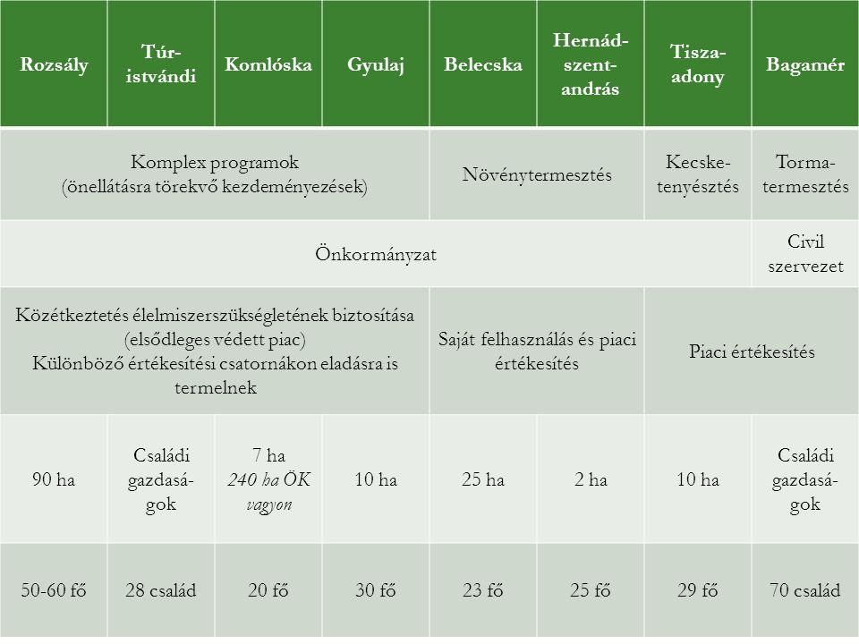Rozsály Túr- istvándi KomlóskaGyulajBelecska Hernád- szent- andrás Tisza- adony Bagamér Komplex programok (önellátásra törekvő kezdeményezések) Növény