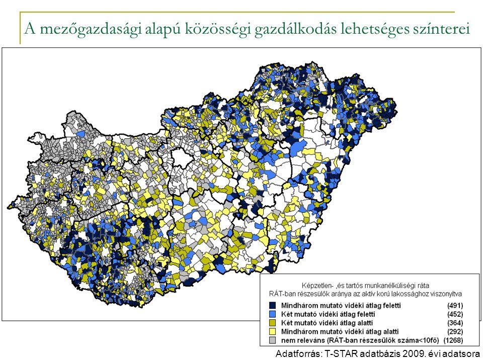 A mezőgazdasági alapú közösségi gazdálkodás lehetséges színterei Adatforrás: T-STAR adatbázis 2009.