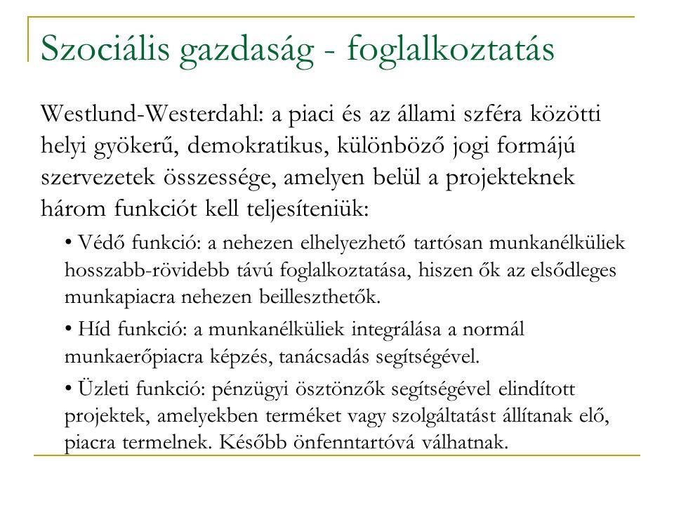 Szociális gazdaság - foglalkoztatás Westlund-Westerdahl: a piaci és az állami szféra közötti helyi gyökerű, demokratikus, különböző jogi formájú szervezetek összessége, amelyen belül a projekteknek három funkciót kell teljesíteniük: Védő funkció: a nehezen elhelyezhető tartósan munkanélküliek hosszabb-rövidebb távú foglalkoztatása, hiszen ők az elsődleges munkapiacra nehezen beilleszthetők.