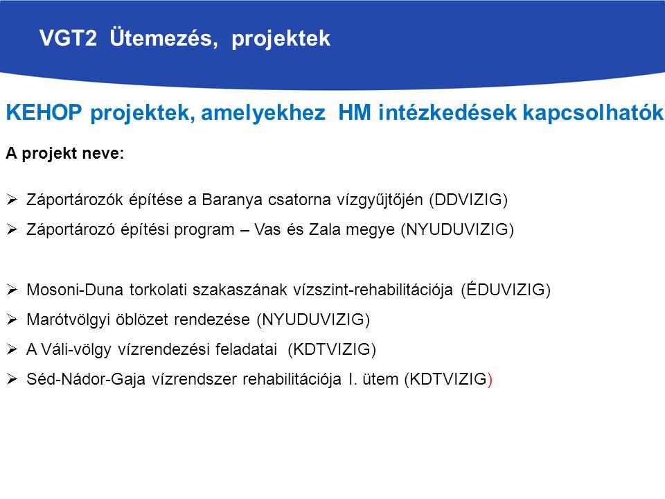 VGT2 Ütemezés, projektek KEHOP projektek, amelyekhez HM intézkedések kapcsolhatók A projekt neve:  Záportározók építése a Baranya csatorna vízgyűjtőjén (DDVIZIG)  Záportározó építési program – Vas és Zala megye (NYUDUVIZIG)  Mosoni-Duna torkolati szakaszának vízszint-rehabilitációja (ÉDUVIZIG)  Marótvölgyi öblözet rendezése (NYUDUVIZIG)  A Váli-völgy vízrendezési feladatai (KDTVIZIG)  Séd-Nádor-Gaja vízrendszer rehabilitációja I.