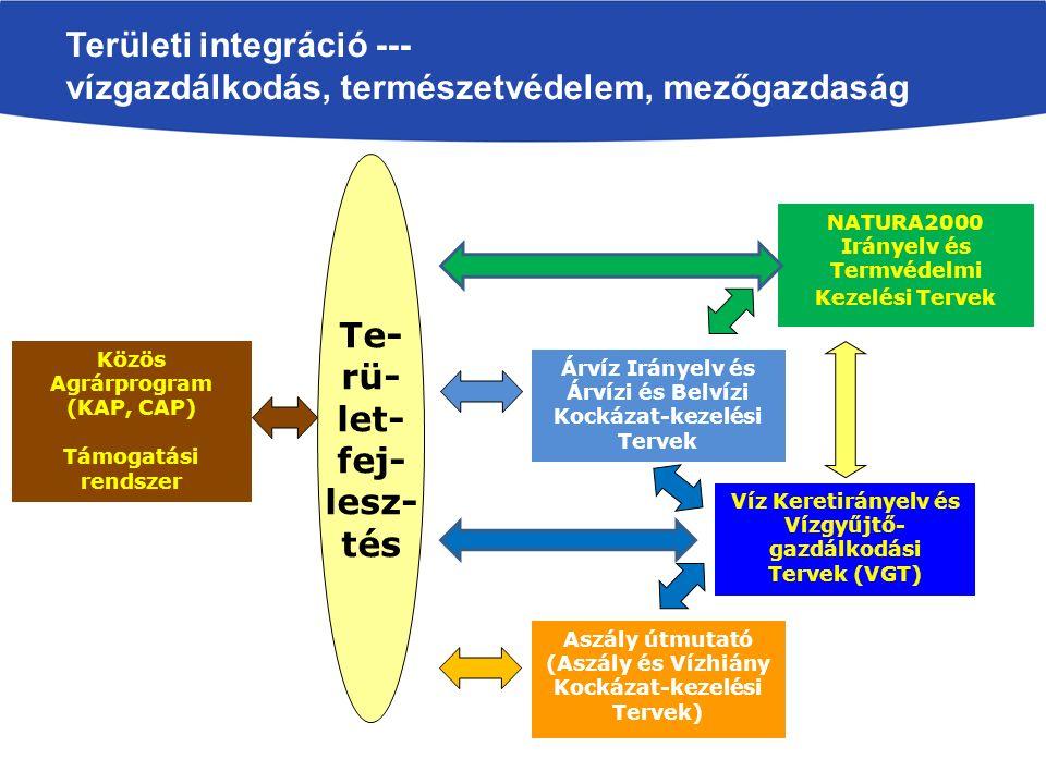 Területi integráció --- vízgazdálkodás, természetvédelem, mezőgazdaság Te- rü- let- fej- lesz- tés Víz Keretirányelv és Vízgyűjtő- gazdálkodási Tervek (VGT) Árvíz Irányelv és Árvízi és Belvízi Kockázat-kezelési Tervek Aszály útmutató (Aszály és Vízhiány Kockázat-kezelési Tervek) NATURA2000 Irányelv és Termvédelmi Kezelési Tervek Közös Agrárprogram (KAP, CAP) Támogatási rendszer