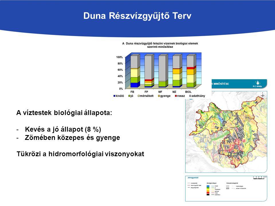 Duna Részvízgyűjtő Terv A víztestek biológiai állapota: -Kevés a jó állapot (8 %) -Zömében közepes és gyenge Tükrözi a hidromorfológiai viszonyokat