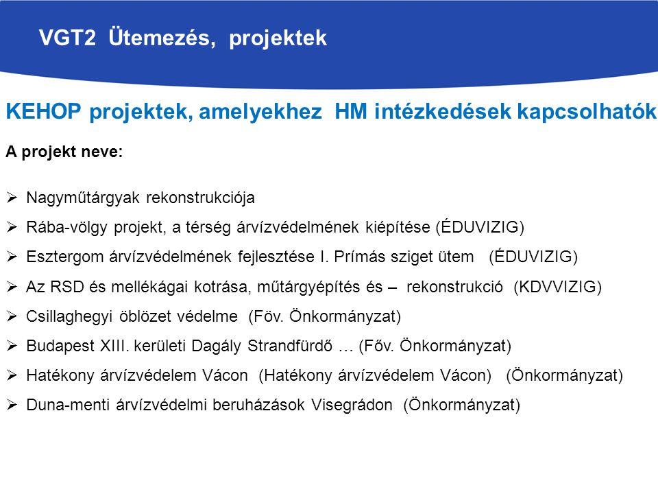 VGT2 Ütemezés, projektek KEHOP projektek, amelyekhez HM intézkedések kapcsolhatók A projekt neve:  Nagyműtárgyak rekonstrukciója  Rába-völgy projekt, a térség árvízvédelmének kiépítése (ÉDUVIZIG)  Esztergom árvízvédelmének fejlesztése I.