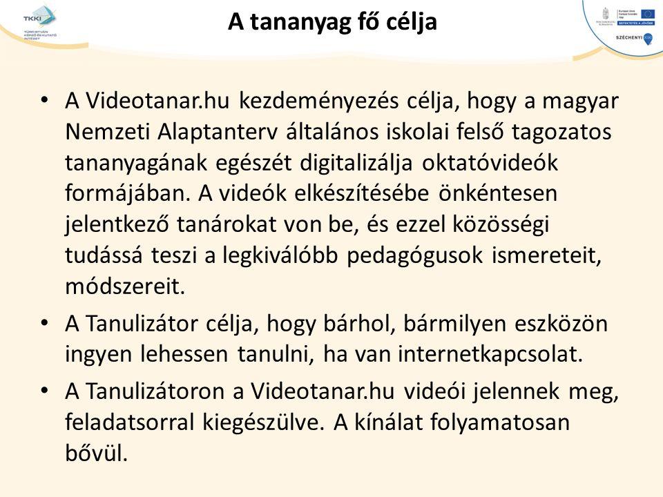cím szöveg – Second level Third level – Fourth level » Fifth level A tananyag fő célja A Videotanar.hu kezdeményezés célja, hogy a magyar Nemzeti Alaptanterv általános iskolai felső tagozatos tananyagának egészét digitalizálja oktatóvideók formájában.