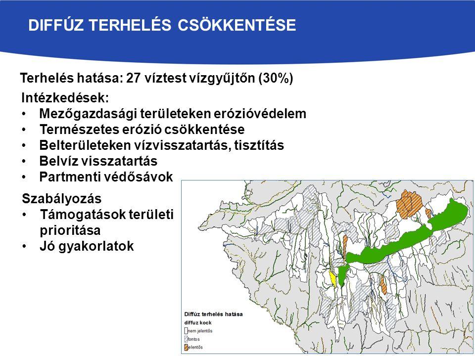 DIFFÚZ TERHELÉS CSÖKKENTÉSE Terhelés hatása: 27 víztest vízgyűjtőn (30%) Intézkedések: Mezőgazdasági területeken erózióvédelem Természetes erózió csök