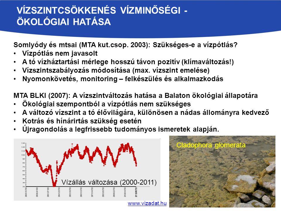 VÍZSZINTCSÖKKENÉS VÍZMINŐSÉGI - ÖKOLÓGIAI HATÁSA Somlyódy és mtsai (MTA kut.csop. 2003): Szükséges-e a vízpótlás? Vízpótlás nem javasolt A tó vízházta