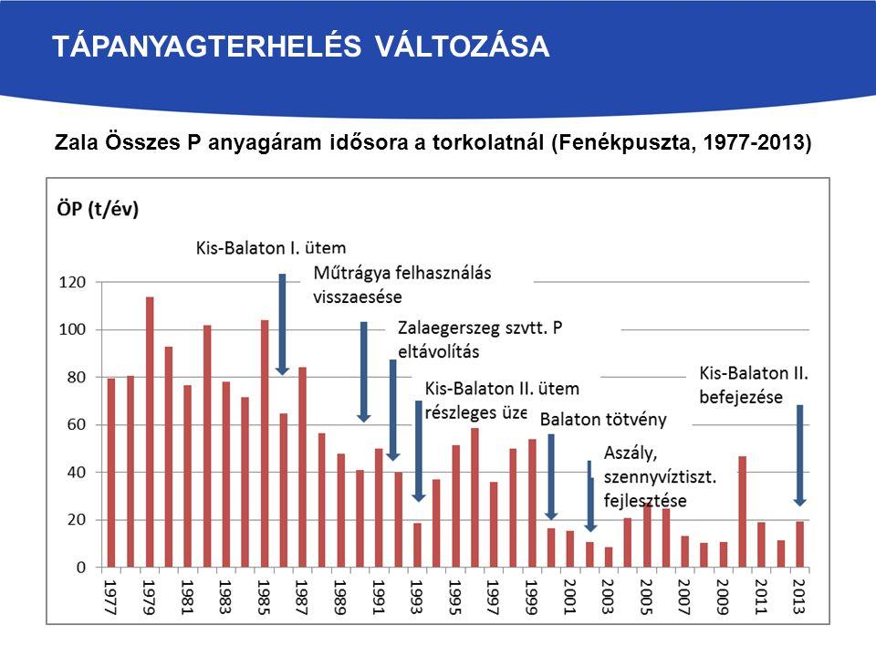 TÁPANYAGTERHELÉS VÁLTOZÁSA Zala Összes P anyagáram idősora a torkolatnál (Fenékpuszta, 1977-2013)