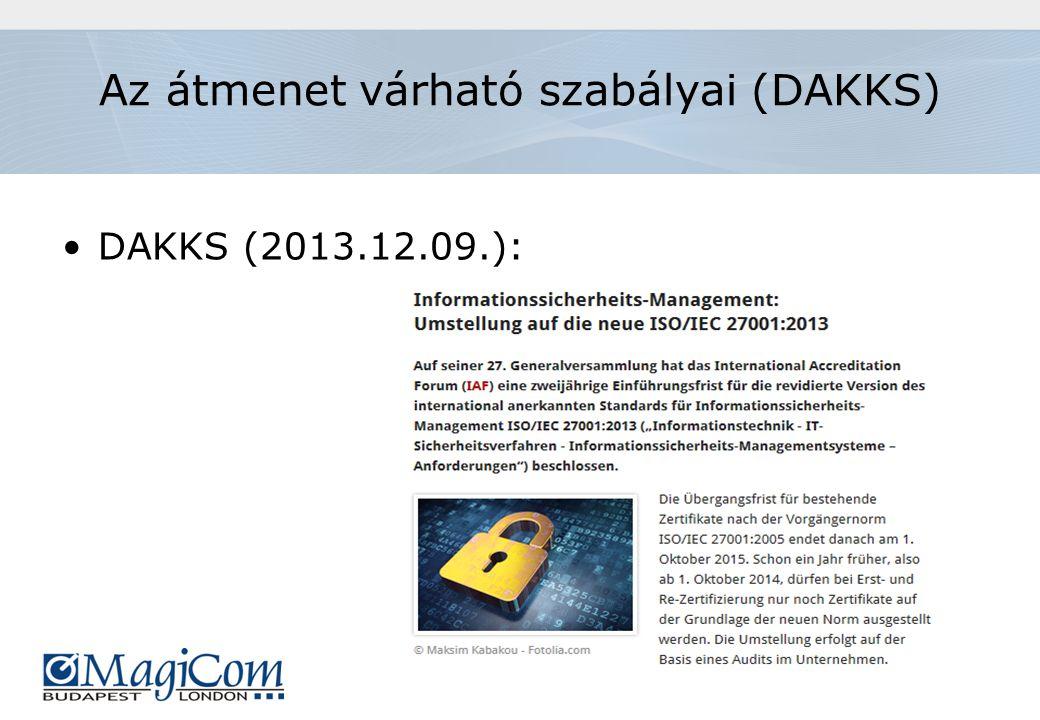 Az átmenet várható szabályai (DAKKS) DAKKS (2013.12.09.):