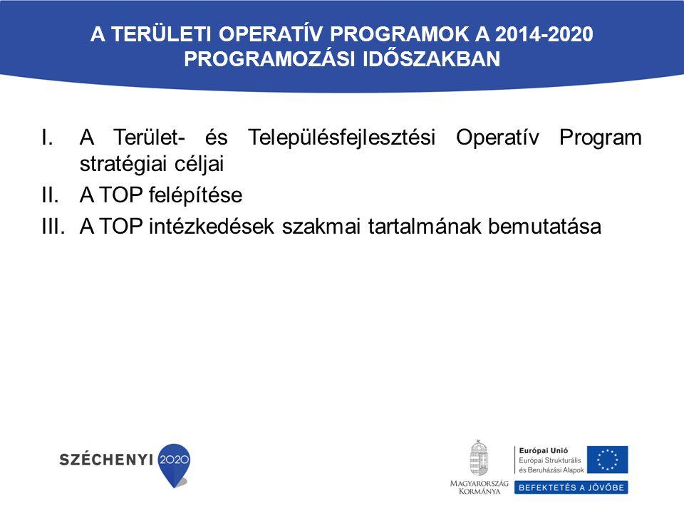 A TERÜLETI OPERATÍV PROGRAMOK A 2014-2020 PROGRAMOZÁSI IDŐSZAKBAN I.A Terület- és Településfejlesztési Operatív Program stratégiai céljai II.A TOP fel