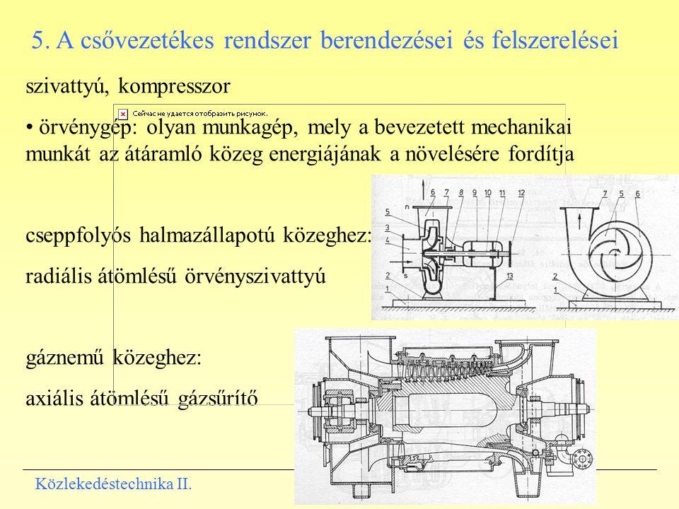5. A csővezetékes rendszer berendezései és felszerelései szivattyú, kompresszor örvénygép: olyan munkagép, mely a bevezetett mechanikai munkát az átár