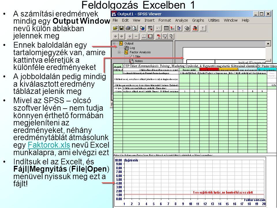 Feldolgozás Excelben 1 A számítási eredmények mindig egy Output Window nevű külön ablakban jelennek meg Ennek baloldalán egy tartalomjegyzék van, amir