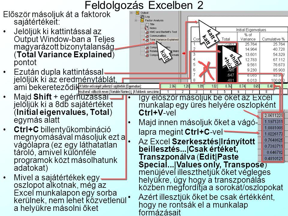 Feldolgozás Excelben 2 Először másoljuk át a faktorok sajátértékeit: Jelöljük ki kattintással az Output Window-ban a Teljes magyarázott bizonytalanság