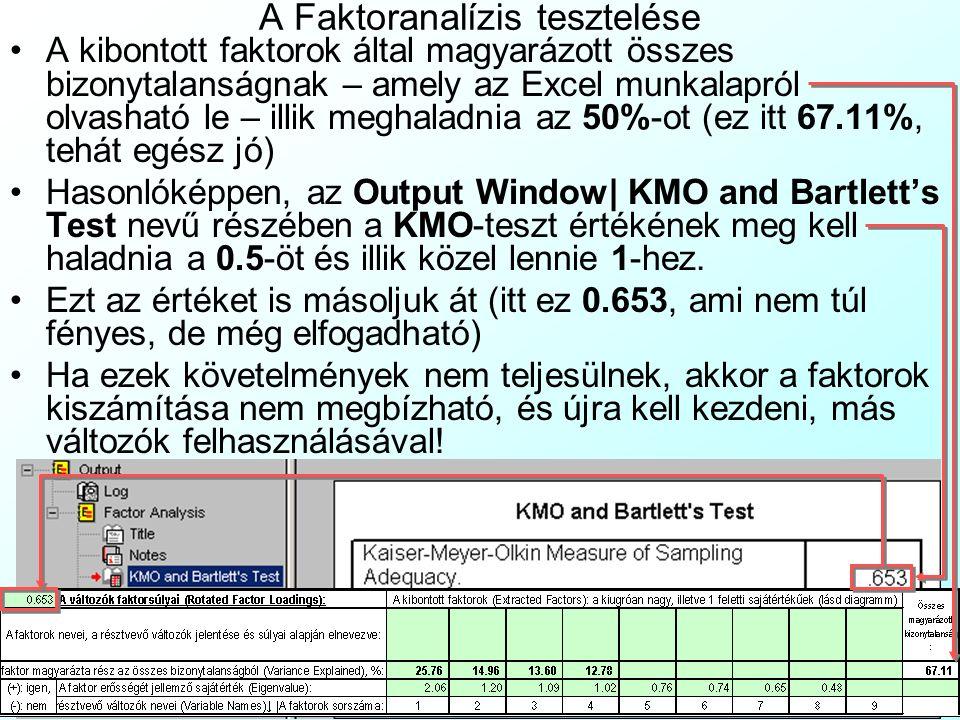 A Faktoranalízis tesztelése A kibontott faktorok által magyarázott összes bizonytalanságnak – amely az Excel munkalapról olvasható le – illik meghalad