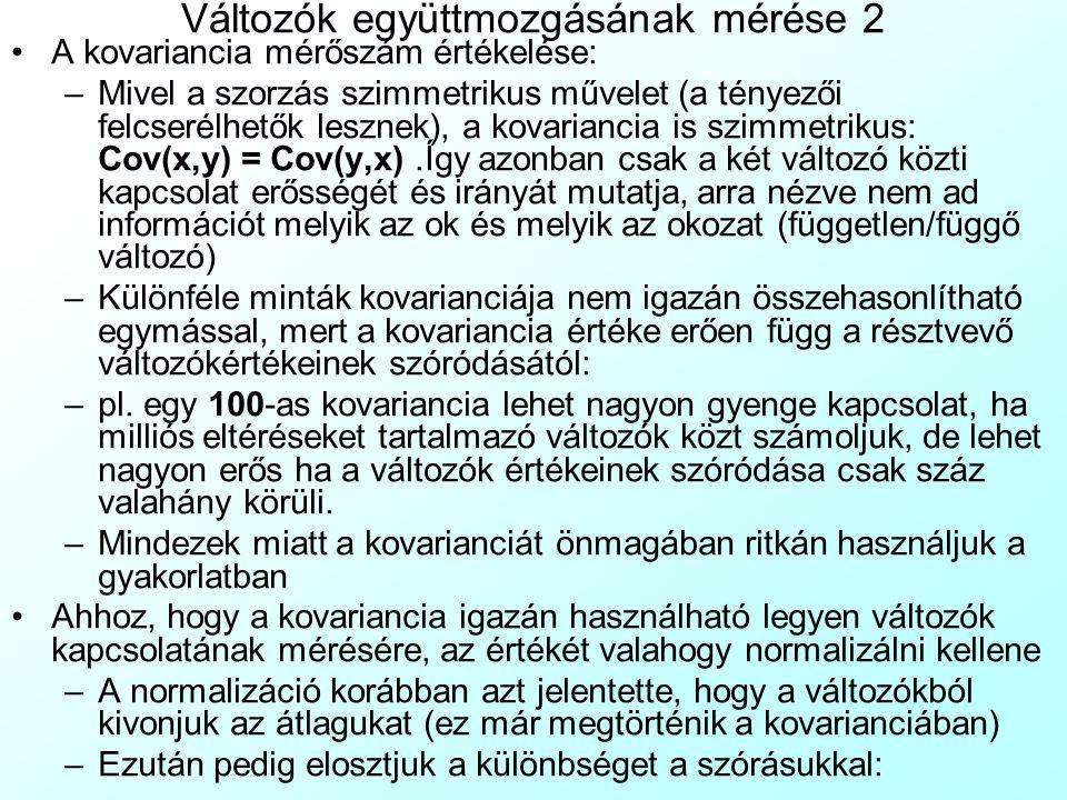 Változók együttmozgásának mérése 2 A kovariancia mérőszám értékelése: –Mivel a szorzás szimmetrikus művelet (a tényezői felcserélhetők lesznek), a kov
