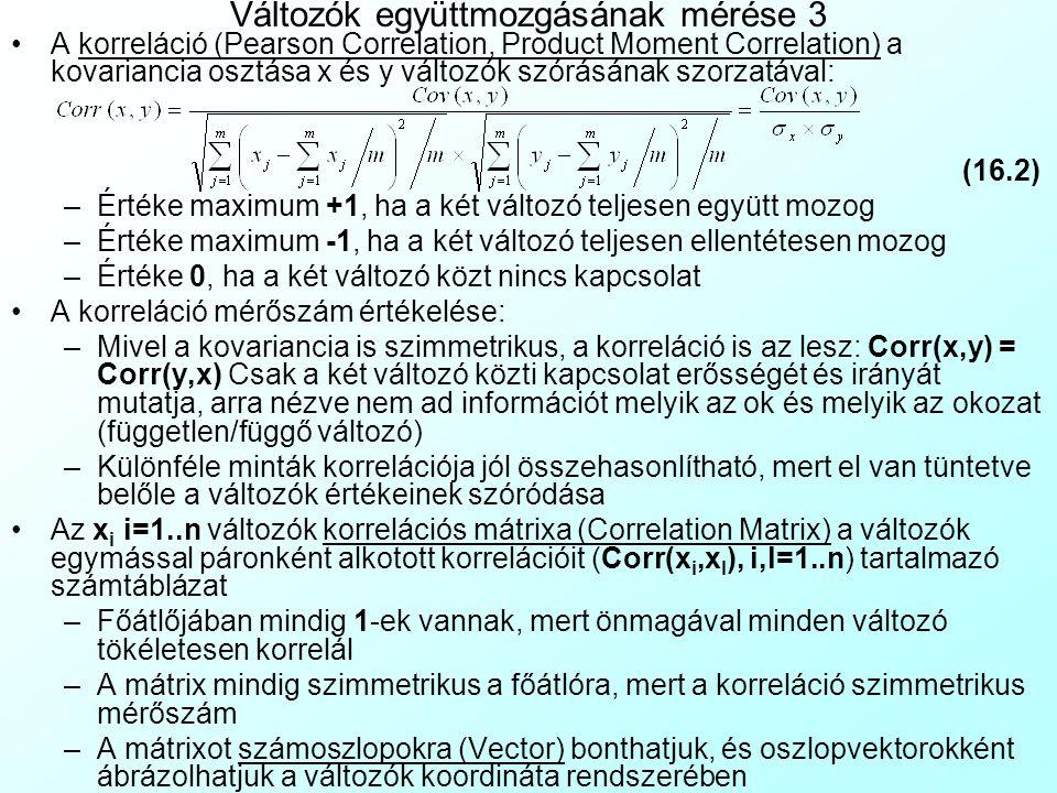 Változók együttmozgásának mérése 3 A korreláció (Pearson Correlation, Product Moment Correlation) a kovariancia osztása x és y változók szórásának szo