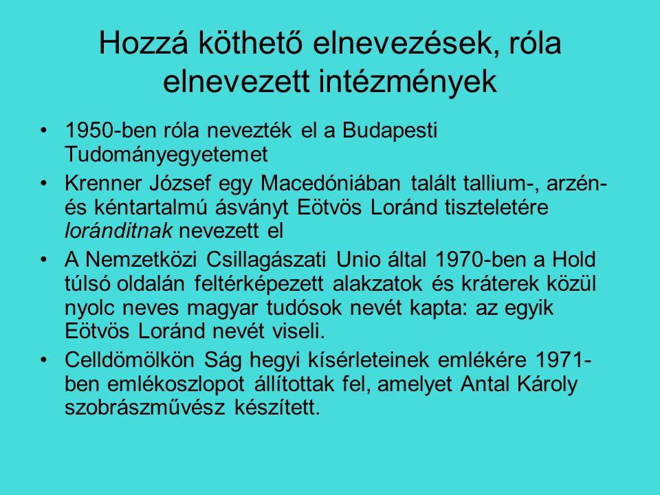 Hozzá köthető elnevezések, róla elnevezett intézmények 1950-ben róla nevezték el a Budapesti Tudományegyetemet Krenner József egy Macedóniában talált