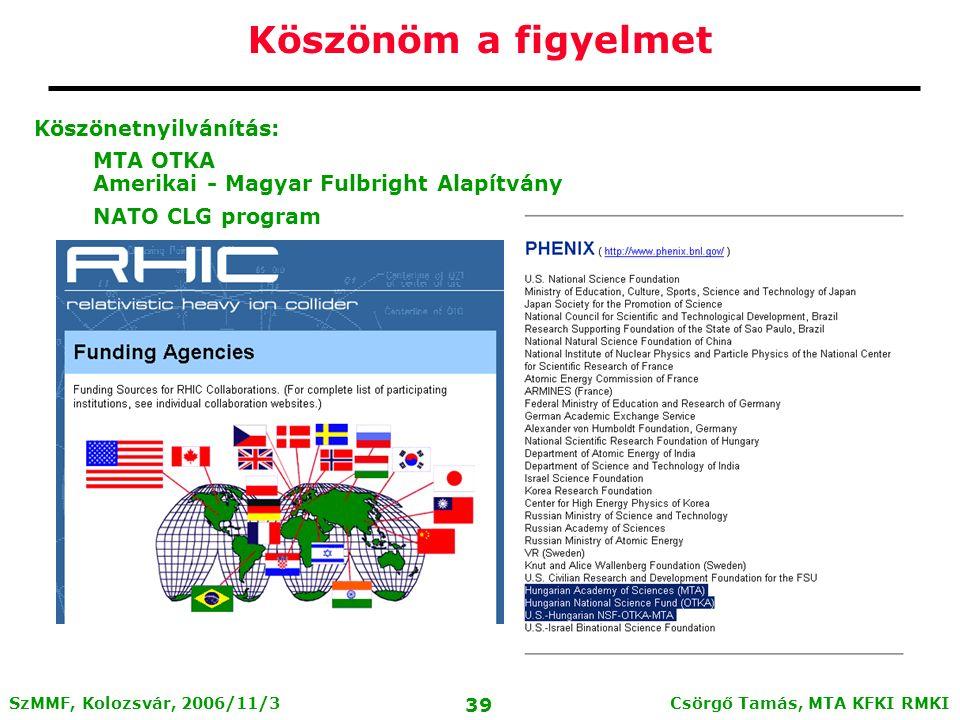 Csörgő Tamás, MTA KFKI RMKI 38 SzMMF, Kolozsvár, 2006/11/3 A PHENIX csoport