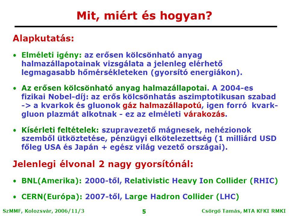 Csörgő Tamás, MTA KFKI RMKI 5 SzMMF, Kolozsvár, 2006/11/3 Mit, miért és hogyan.