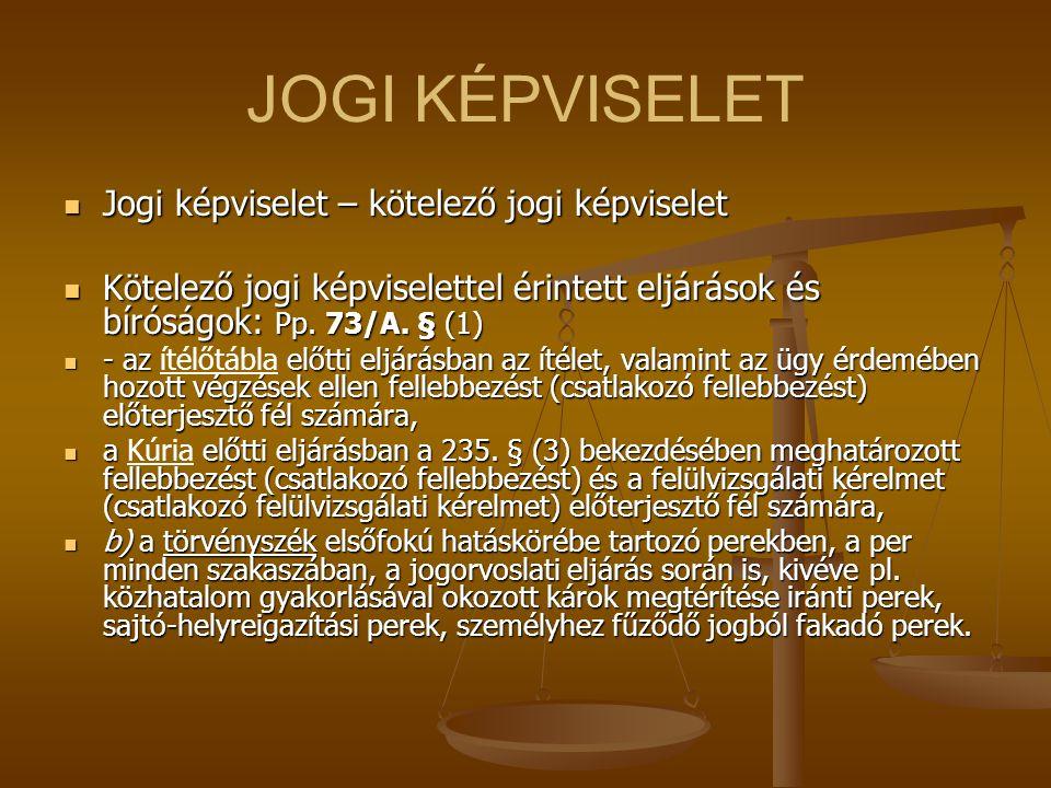 JOGI KÉPVISELET Jogi képviselet – kötelező jogi képviselet Jogi képviselet – kötelező jogi képviselet Kötelező jogi képviselettel érintett eljárások é