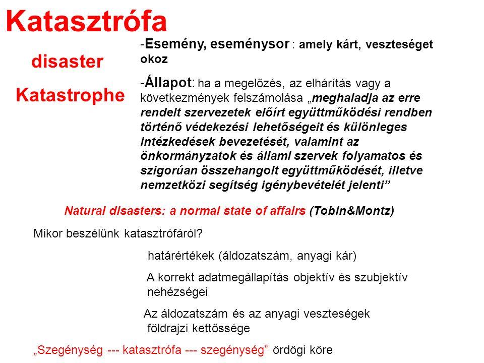 Katasztrófa disaster Katastrophe -Esemény, eseménysor : amely kárt, veszteséget okoz -Állapot: ha a megelőzés, az elhárítás vagy a következmények fels