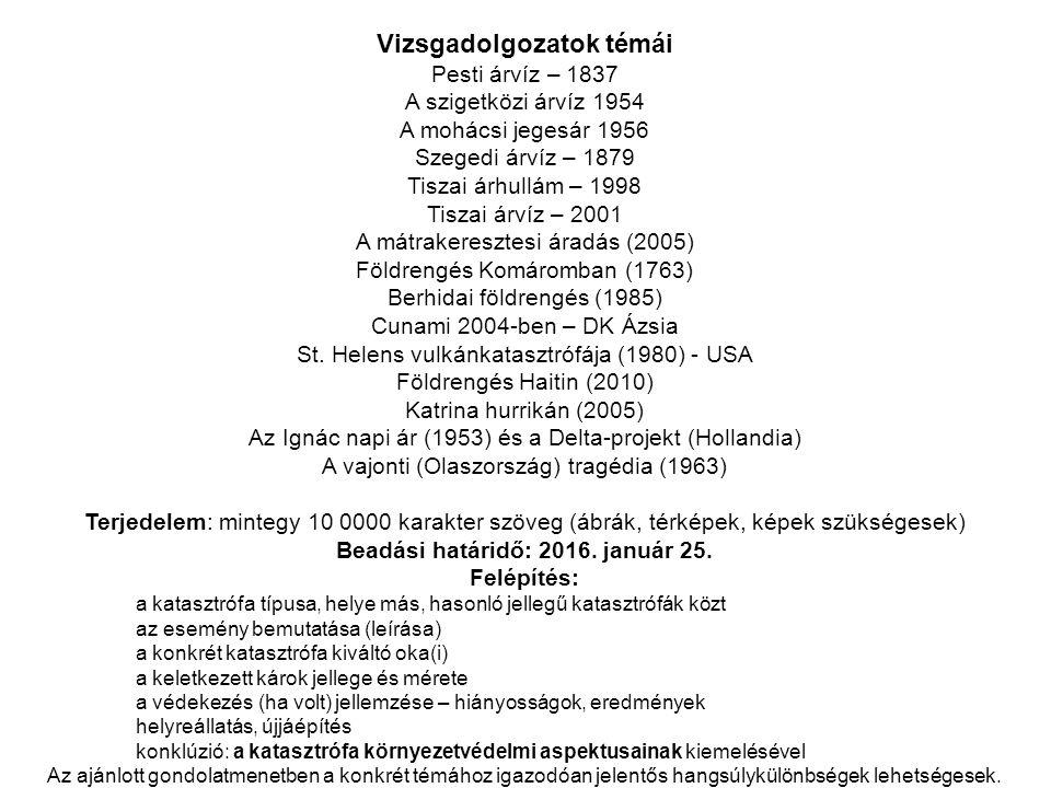 Vizsgadolgozatok témái Pesti árvíz – 1837 A szigetközi árvíz 1954 A mohácsi jegesár 1956 Szegedi árvíz – 1879 Tiszai árhullám – 1998 Tiszai árvíz – 20