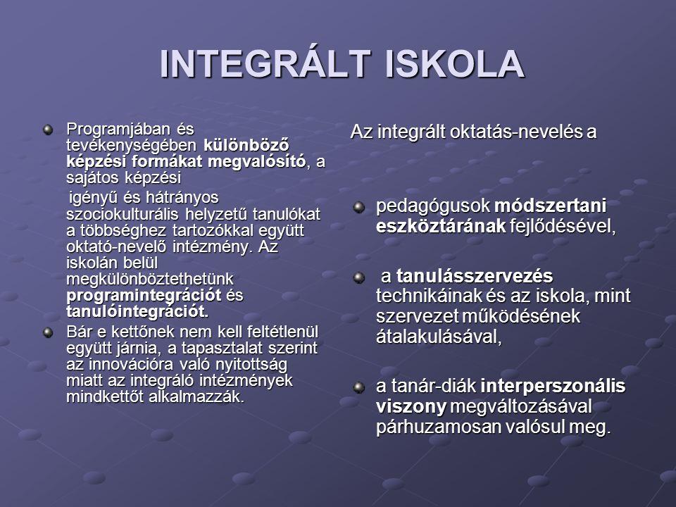 INTEGRÁLT ISKOLA INTEGRÁLT ISKOLA Programjában és tevékenységében különböző képzési formákat megvalósító, a sajátos képzési igényű és hátrányos szociokulturális helyzetű tanulókat a többséghez tartozókkal együtt oktató-nevelő intézmény.