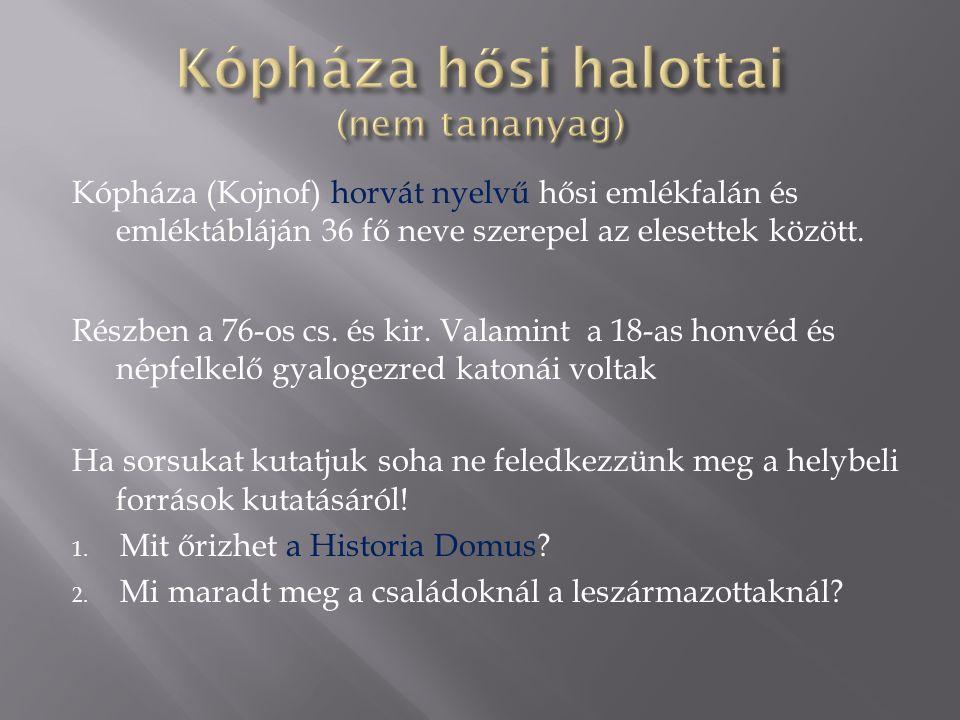 Kópháza (Kojnof) horvát nyelvű hősi emlékfalán és emléktábláján 36 fő neve szerepel az elesettek között.