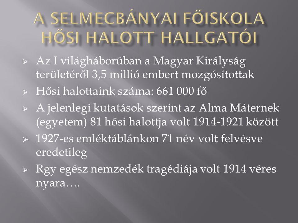  Az I világháborúban a Magyar Királyság területéről 3,5 millió embert mozgósítottak  Hősi halottaink száma: 661 000 fő  A jelenlegi kutatások szerint az Alma Máternek (egyetem) 81 hősi halottja volt 1914-1921 között  1927-es emléktáblánkon 71 név volt felvésve eredetileg  Rgy egész nemzedék tragédiája volt 1914 véres nyara….