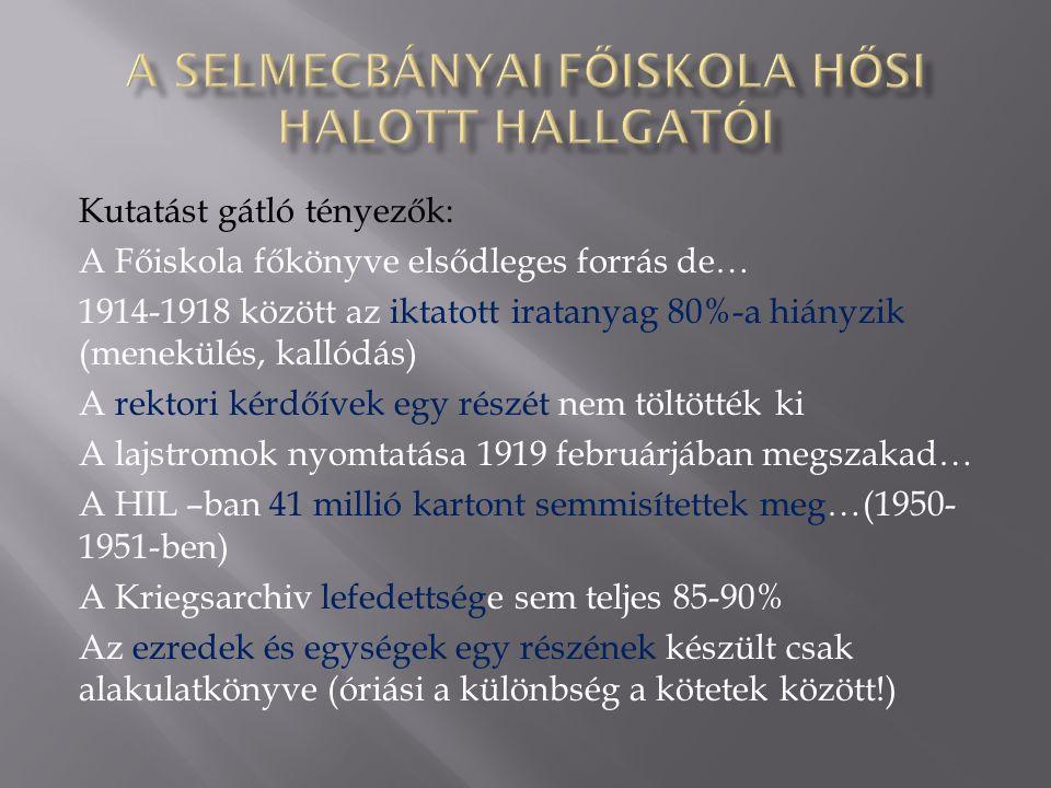 Kutatást gátló tényezők: A Főiskola főkönyve elsődleges forrás de… 1914-1918 között az iktatott iratanyag 80%-a hiányzik (menekülés, kallódás) A rektori kérdőívek egy részét nem töltötték ki A lajstromok nyomtatása 1919 februárjában megszakad… A HIL –ban 41 millió kartont semmisítettek meg…(1950- 1951-ben) A Kriegsarchiv lefedettsége sem teljes 85-90% Az ezredek és egységek egy részének készült csak alakulatkönyve (óriási a különbség a kötetek között!)
