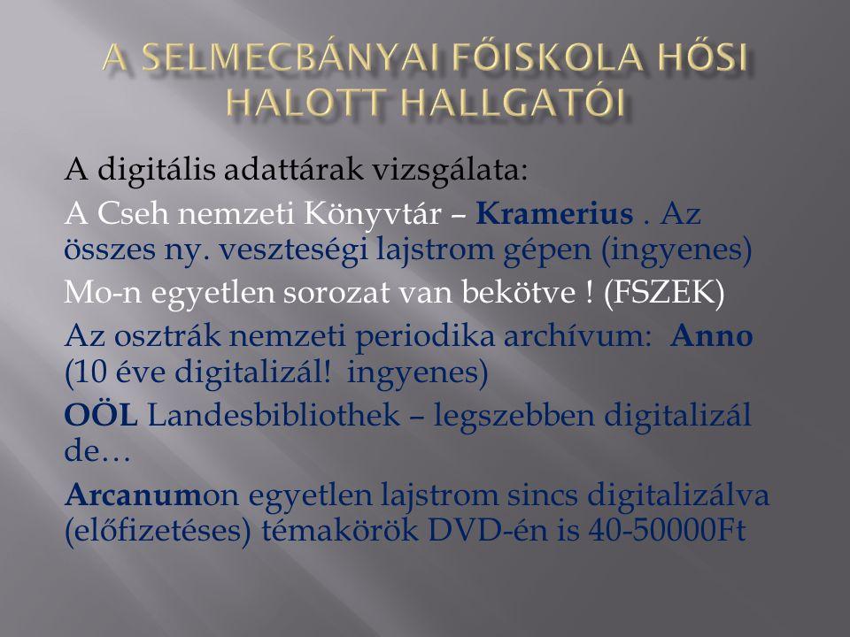 A digitális adattárak vizsgálata: A Cseh nemzeti Könyvtár – Kramerius.