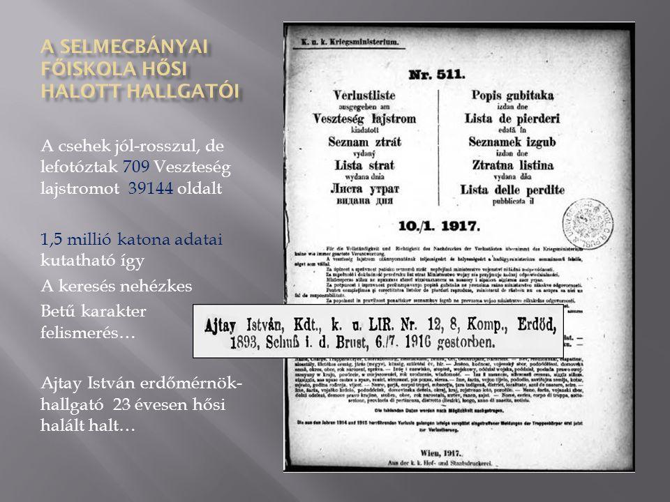 A csehek jól-rosszul, de lefotóztak 709 Veszteség lajstromot 39144 oldalt 1,5 millió katona adatai kutatható így A keresés nehézkes Betű karakter felismerés… Ajtay István erdőmérnök- hallgató 23 évesen hősi halált halt…
