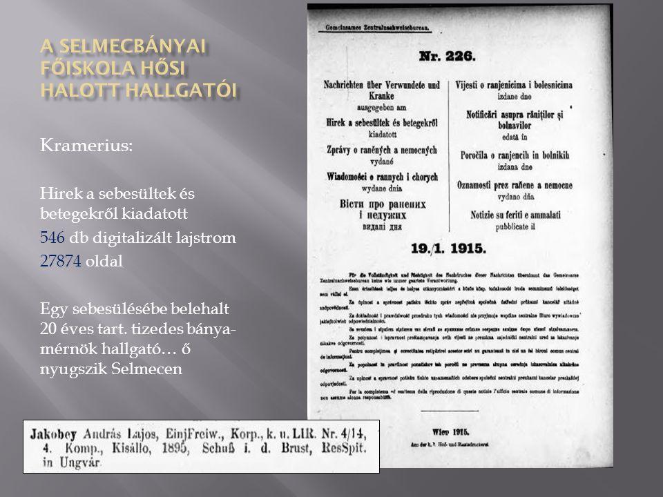 Kramerius: Hirek a sebesültek és betegekről kiadatott 546 db digitalizált lajstrom 27874 oldal Egy sebesülésébe belehalt 20 éves tart.