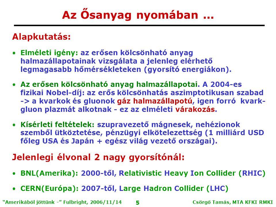 Csörgő Tamás, MTA KFKI RMKI 4 Amerikából jöttünk - Fulbright, 2006/11/14 Sajtóanyagok http://arxiv.org/abs/nucl-ex/0410003 128 hivatkozás (2006.