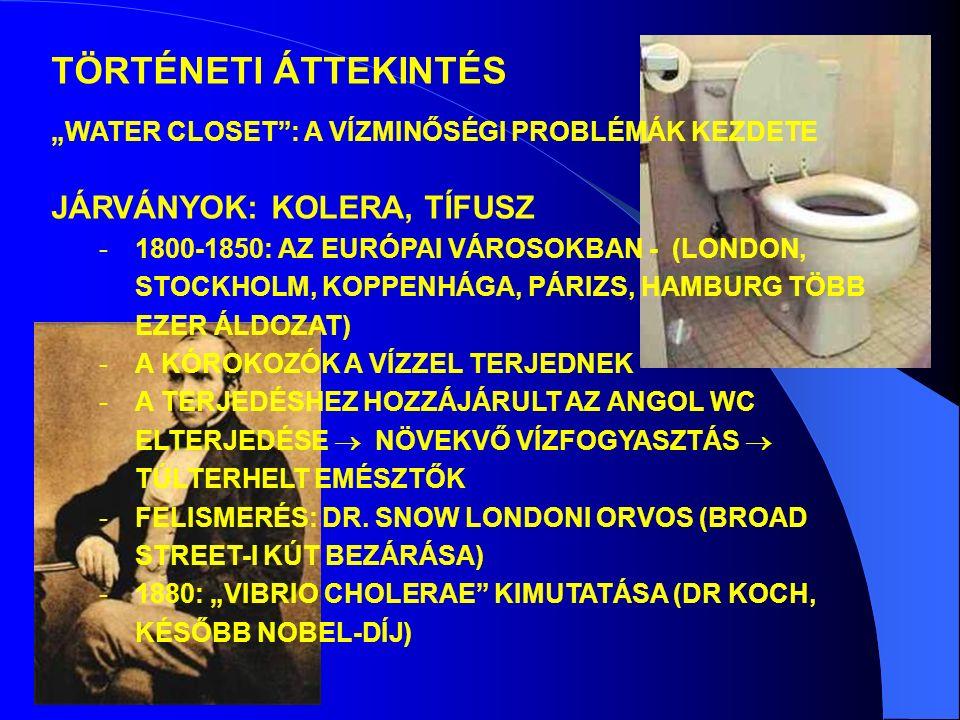 JÁRVÁNYOK: KOLERA, TÍFUSZ -1800-1850: AZ EURÓPAI VÁROSOKBAN - (LONDON, STOCKHOLM, KOPPENHÁGA, PÁRIZS, HAMBURG TÖBB EZER ÁLDOZAT) -A KÓROKOZÓK A VÍZZEL TERJEDNEK -A TERJEDÉSHEZ HOZZÁJÁRULT AZ ANGOL WC ELTERJEDÉSE  NÖVEKVŐ VÍZFOGYASZTÁS  TÚLTERHELT EMÉSZTŐK -FELISMERÉS: DR.