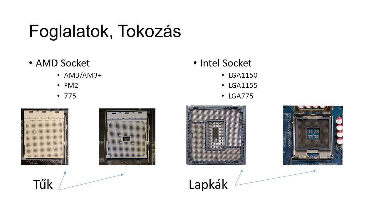Foglalatok, Tokozás AMD Socket AM3/AM3+ FM2 775 Intel Socket LGA1150 LGA1155 LGA775 TűkLapkák